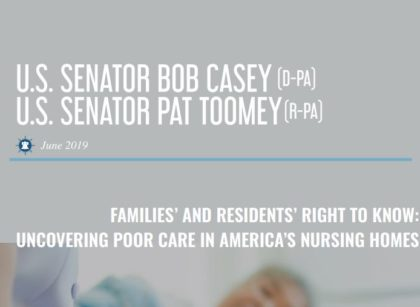 Senators Casey & Toomey Release Report on Nursing Homes