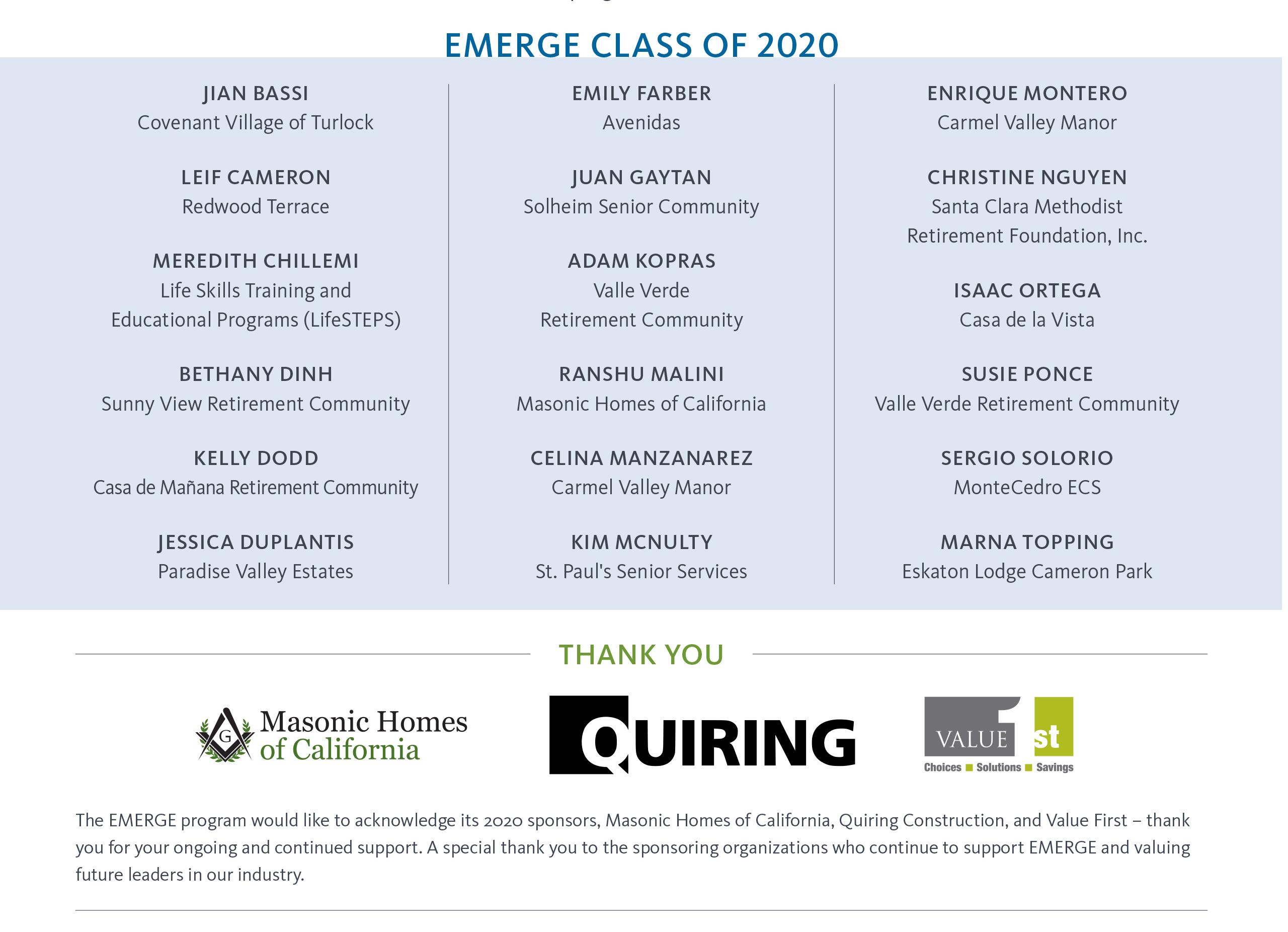 Congratulations 2020 EMERGE Graduates
