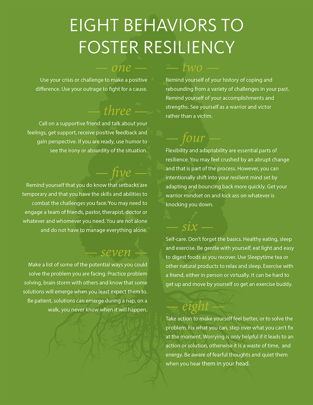 8 Behaviors to Foster Resilience