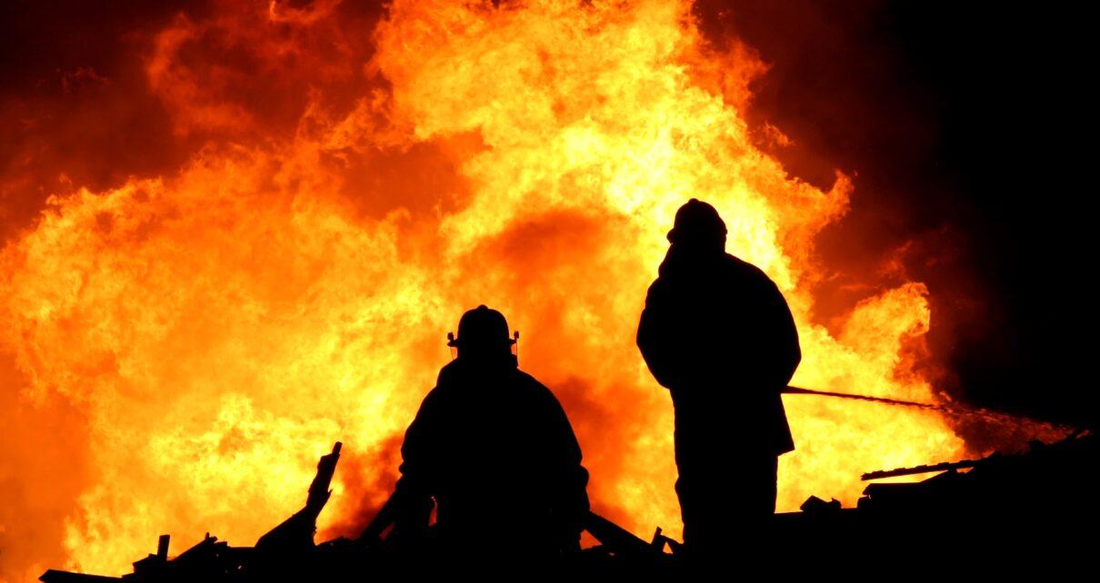 Firemen battling a blaze